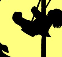 Silhouette art, child on a swing, dog Sticker