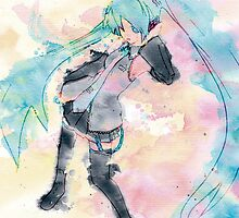 Hatsune Miku Watercolor by NakaiHikari