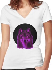 Pink wolf Women's Fitted V-Neck T-Shirt
