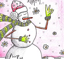 Peace on Earth - Snowman Art Holiday Greetings by erica lubee  ~ SkyBlueWithDaisies