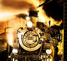 Durango & Silverton Narrow Gauge Rail Engine 480 at Night by rjcolby