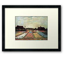 Flowering bulb field by Vincent van Gogh. vintage floral landscape oil painting. Framed Print