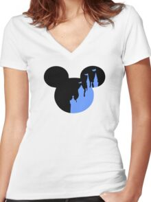 Mickey Castle Women's Fitted V-Neck T-Shirt