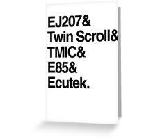 Helvetica List - JDM Subaru STi Greeting Card