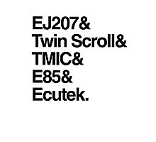 Helvetica List - JDM Subaru STi Photographic Print