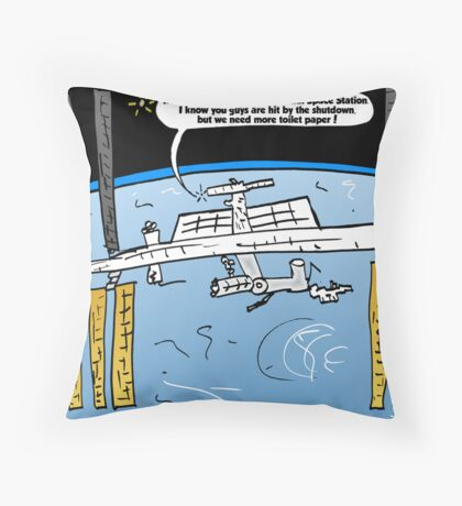 Int'l Space Station Caricature Throw Pillow