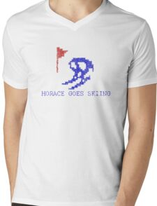Vintage Look Retro Arcade Horace Goes Skiing Mens V-Neck T-Shirt