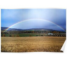 Rainbow over Tasmanian winery Poster