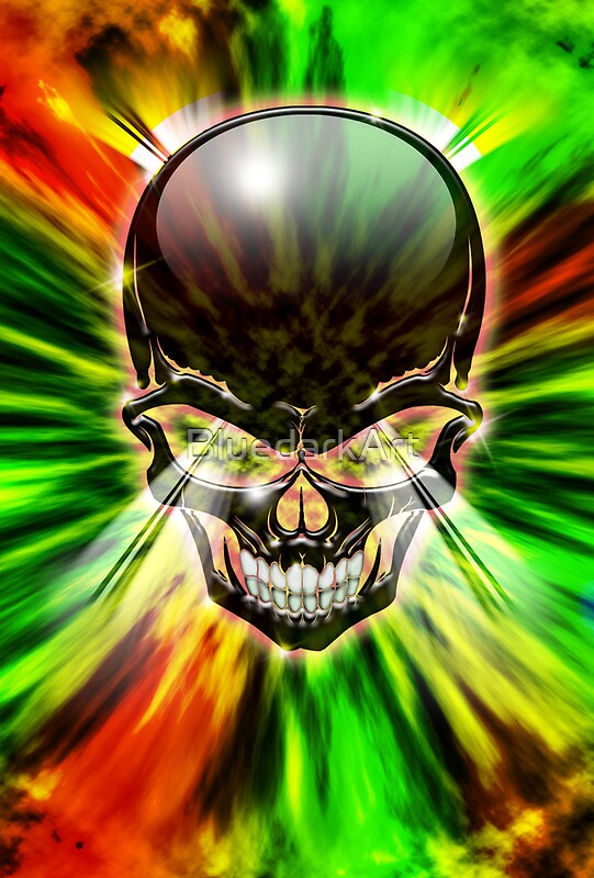 Quot crystal skull on psychedelic flames quot by bluedarkart