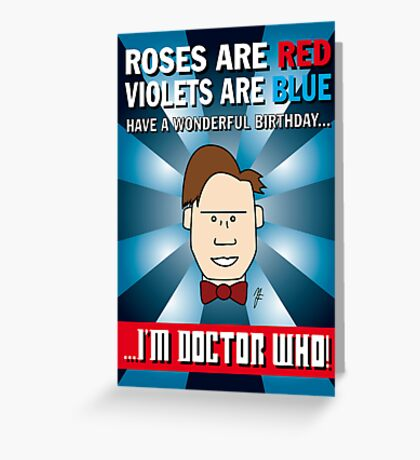 Doctor Who Roses Are Red Birthday Card Greeting Card