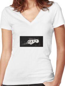 Fender Jazz Bass Headshot Women's Fitted V-Neck T-Shirt