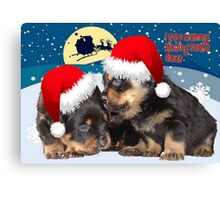 Puppy Christmas: I saw Mummy Kissing Santa Claus Canvas Print