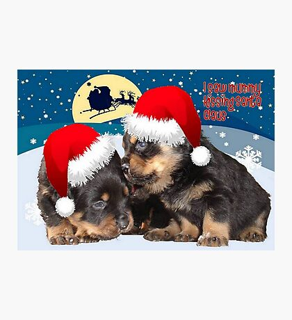 Puppy Christmas: I saw Mummy Kissing Santa Claus Photographic Print
