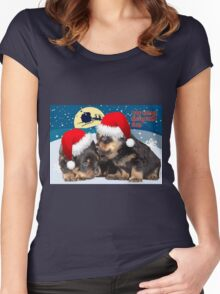 Puppy Christmas: I saw Mummy Kissing Santa Claus Women's Fitted Scoop T-Shirt