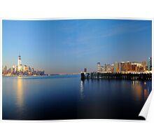Lower Manhattan And Lower Jersey City On The Hudson Rv. Poster