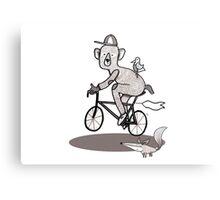 Bear on bike with Fox and Bird Metal Print