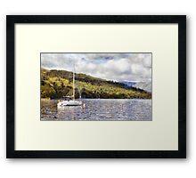 Moored yacht on lake Framed Print