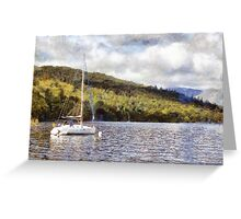 Moored yacht on lake Greeting Card