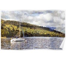 Moored yacht on lake Poster