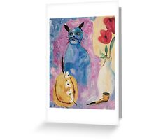 Blue China Cat by Suzanne Marie Leclair Greeting Card
