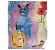 Blue China Cat by Suzanne Marie Leclair Poster