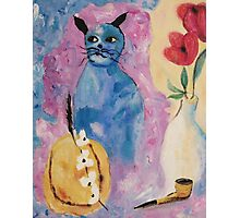 Blue China Cat by Suzanne Marie Leclair Photographic Print