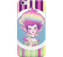 Marie Antoinette with Macaron on violet background iPhone Case/Skin