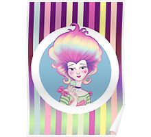 Marie Antoinette with Macaron on violet background Poster