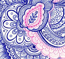 Hot Pink and Turquoise Blue Mandala Henna Tattoo Design by rozine