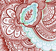 Patriotic Red White And Blue Henna Tattoo Mandala Design by rozine