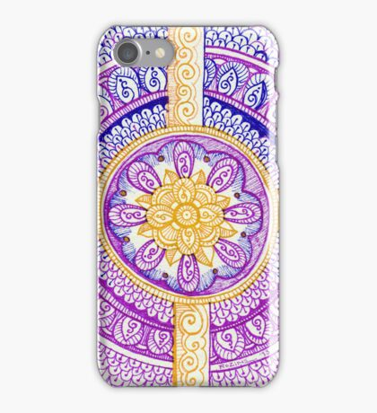 Purple and Gold Mandala Henna Tattoo Design by Rozine iPhone Case/Skin