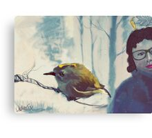 Bird on a branch Canvas Print