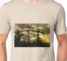 A digital painting of an Antique Beam Well in Barda, Romania Unisex T-Shirt