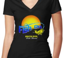 Fish On Amazon Women's Fitted V-Neck T-Shirt