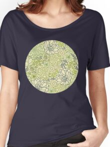 Succulent garden line art pattern Women's Relaxed Fit T-Shirt