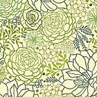 Succulent garden line art pattern by oksancia