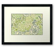 Succulent garden line art pattern Framed Print