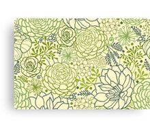Succulent garden line art pattern Canvas Print