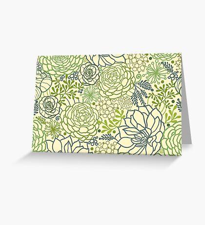 Succulent garden line art pattern Greeting Card
