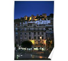 St George Castle at Night, Lisbon, Portugal. Poster