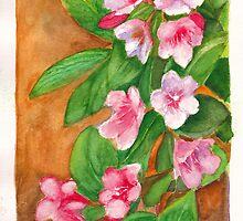 Watercolour painting of weigela flowers by Dai Wynn