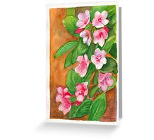 Watercolour painting of weigela flowers Greeting Card