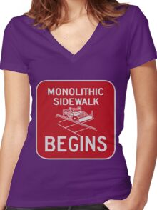 Monolithic Sidewalk Begins Women's Fitted V-Neck T-Shirt