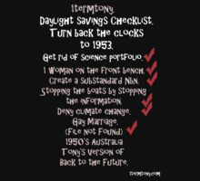 1termtony Daylight savings checklist for black tshirts. by cradox