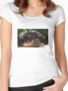 Cute Close Up Of A Sleepy Rottweiler Puppy Women's Fitted Scoop T-Shirt