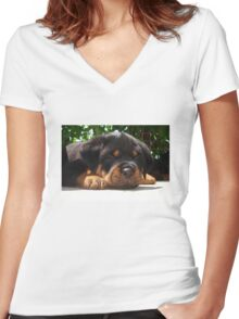 Cute Close Up Of A Sleepy Rottweiler Puppy Women's Fitted V-Neck T-Shirt