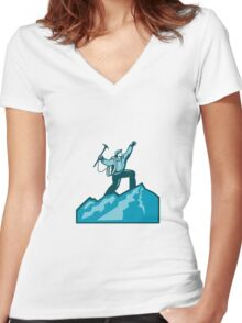 Mountain Climber Summit Retro Women's Fitted V-Neck T-Shirt
