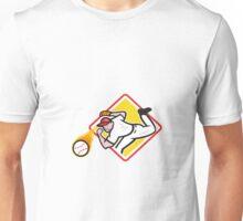 Baseball Pitcher Throwing Fire Ball Diamond Unisex T-Shirt