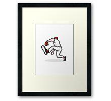 Baseball Pitcher Throwing Ball Cartoon Framed Print