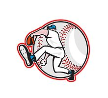 Baseball Pitcher Throw Ball Cartoon by patrimonio